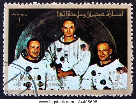Postage stamp Ajman 1973 Crew of Apollo 11