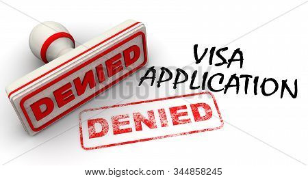 Visa Application Denied. The Seal And Imprint. Denial Of A Visa. The Red Stamp And Red Imprint Denie