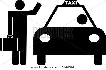 Stick Man Business Hailing A Taxi.