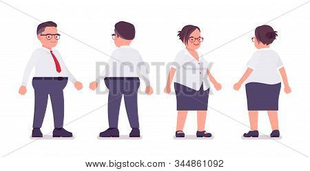 Fat Male And Female Clerk Standing. Heavy Middle Aged Business People, Office Manager And Civil Serv