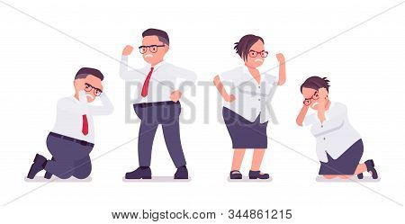Fat Male, Female Clerk, Negative Emotion. Unhappy Heavy Middle Age Business People, Office Manager,