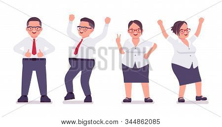 Fat Male, Female Clerk, Positive Emotions. Happy Heavy Middle Age Business People, Office Manager, C