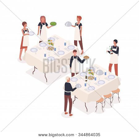 Social Event Isometric Vector Flat Illustration. Catering, Service Staff And Waiter Preparing To Mea