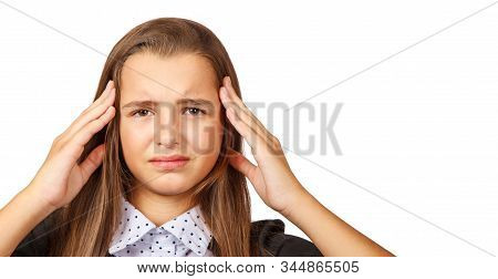 Beautiful Brunette Teen Girl With Long Hair Showing Gesture Headache. Isolated On White Background