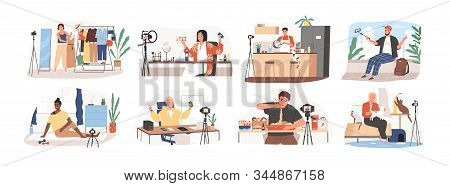 Set Of Bloggers And Vloggers Cartoon People Making Internet Content Vector Flat Illustration. Charac