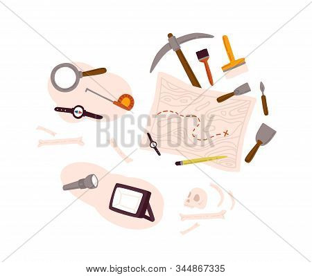 Set Of Archeology Equipment Icon With Digging Out Tools, Ancient Artifacts, Map Isolated On White Ba