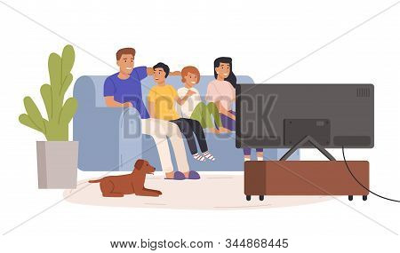 Happy Family Watching Tv Together Vector Flat Illustration. Smiling Cartoon Mother, Father And Child