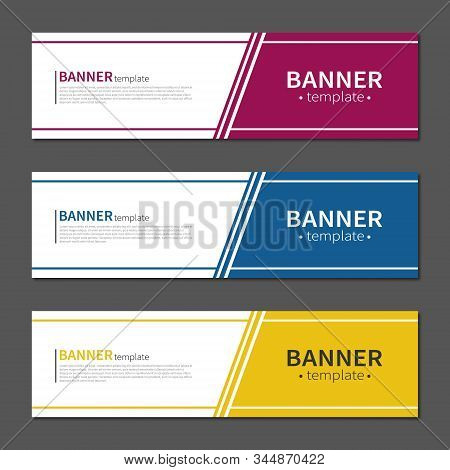 Vector Design Banner Web Template. Red, Blue And Yellow. Layout Banners. Template Ready For Use In W
