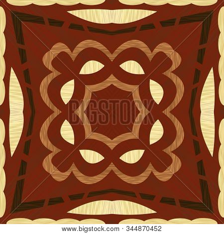 Wooden Inlay, Light And Dark Wooden Patterns. Veneer Textured Geometric Ornament. Wooden Art Decorat