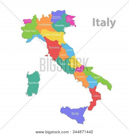 Italy Map, Administrative Division With Names, Colors Map Isolated On White Background Vector