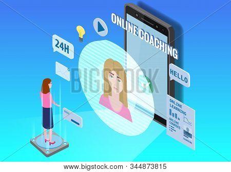 Online Coaching Education Training, Workshops And Courses. Flat 3d Isometric Design. Students Studyi