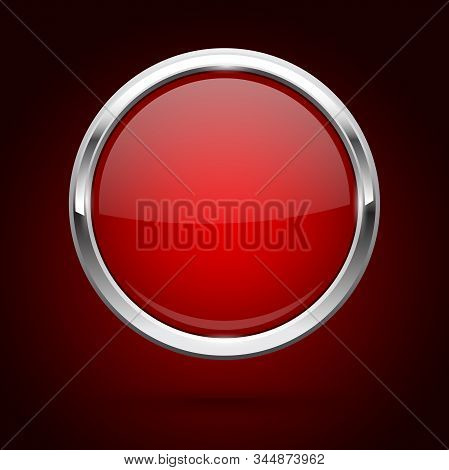 Red Glass Button With Metal Frame. Round Icon On Dark Red Background. Vector 3d Illustration