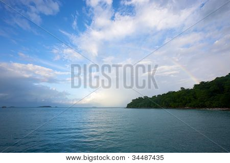 Rainbow over the island, after the rain