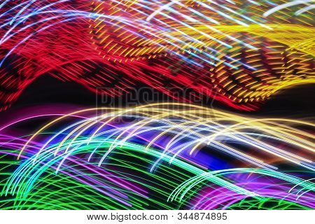 Abstract Painting Colour Textures With Led Lighting Effects. Wild Light Pattern. Fractal Chart Art D