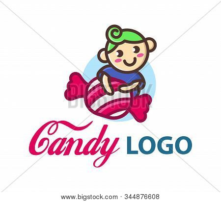 Candy Vector Logo Template With Cute Little Funny Boy. Сhild Hugs A Big Candy. Candy Shop Icon. Cand