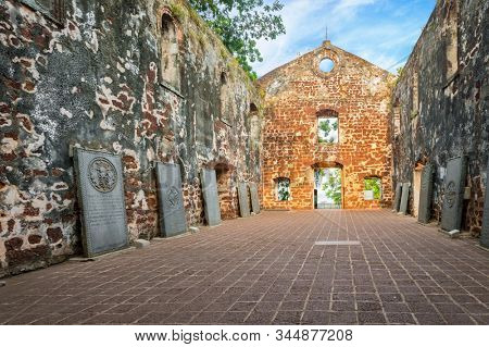 Saint Paul's Church at the summit of St. Paul's Hill in Malacca City, Malaysia
