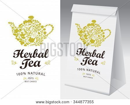 Paper Packaging And Label For Herbal Tea. Vector Label For Herbal Tea With A Teakettle Consisting Of
