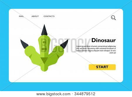 Icon Of Green Dinosaur Footprints. Animal, Reptile, Extinct Animal. Animal Concept. Can Be Used For