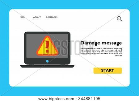 Vector Icon Of Attention Message On Computer Screen. Email Damage, Warning Message, Virus. Hackers C
