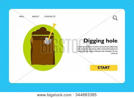 Icon Of Empty Grave And Spade. Digging Hole, Cemetery, Burying. Funeral Service Concept. Can Be Used