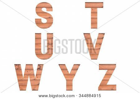 Font Wood Alphabet S, T, U, V, W, Y Z Isolated On White Background. Nature Concept.