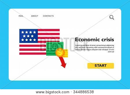 Usa Flag With Dollar Banknote And Coins Decline Sign. Decline Of Dollar, Budget Shortfall, Usa Banks