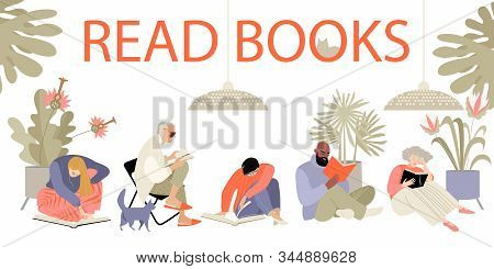 Set Of Vector Illustrations Of People Reading. Men And Women Of Different Ages In A Bright Room On T