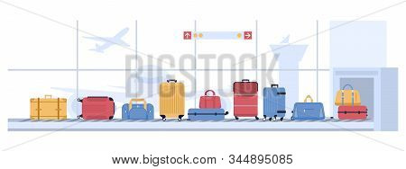 Luggage Airport Carousel. Baggage Suitcases Scanning, Luggage Conveyor Belt With Bags And Suitcases.