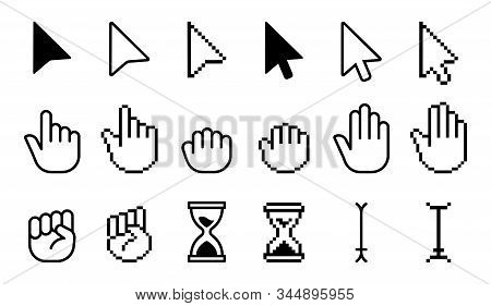 Pointer Cursor Icons. Computer Web Arrows Mouse Cursors And Clicking Line Pointer Cursor Selecting.