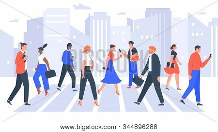 Business People Cross Road. People In City Crosswalk, Office Workers Walking On Crowded. Businessman