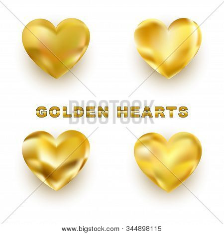 Set Of Golden Hearts. Realistic Golden Hearts For Your Valentines Day, Wedding Invitation Design. Is