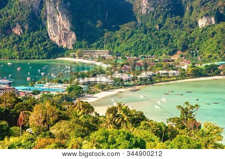 Phi Phi Island Amazing View Point, View On Tonsai Village. Koh Phi Phi Don, Viewpoint. Thailand.