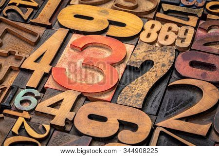 numbers background - vintage grunge letterpress wood type printing blocks from a variety of font sets