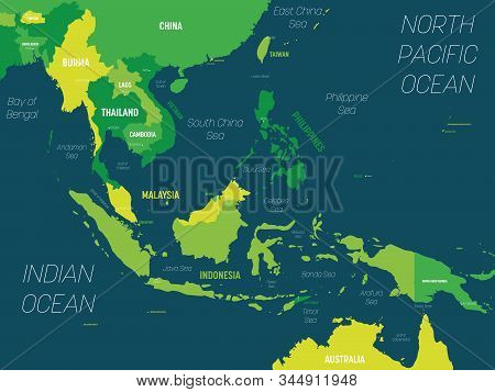 Southeast Asia Map - Green Hue Colored On Dark Background. High Detailed Political Map Of Southeaste