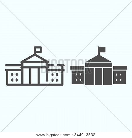 White House Building Line And Glyph Icon. Washington Architecture Vector Illustration Isolated On Wh