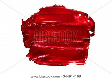 Smear And Texture Of Red Lipstick Or Oil Paint Isolated On White Background. - Image