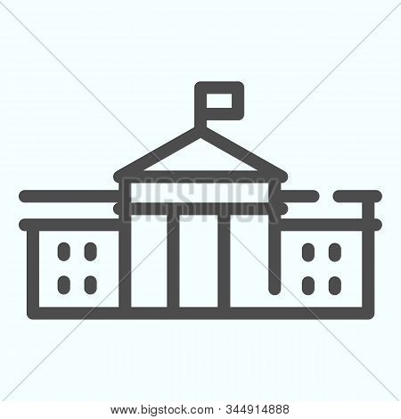 White House Building Line Icon. Washington Architecture Vector Illustration Isolated On White. Congr