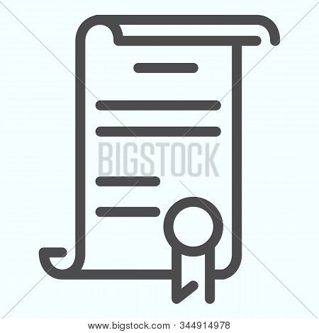 Declaration Line Icon. American Document Vector Illustration Isolated On White. Contract Outline Sty