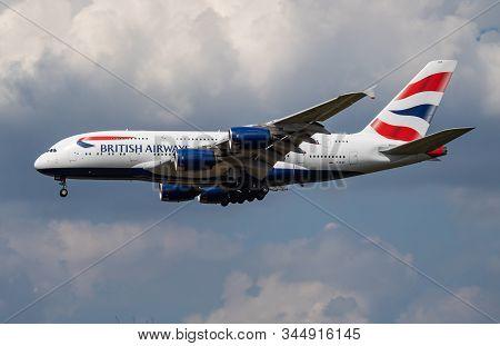 London / United Kingdom - July 14, 2018: British Airways Airbus A380 G-xlef Passenger Plane Landing