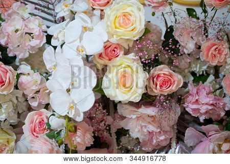 Rose Flower Decorate As Bouquet Or Flowery Texture Background