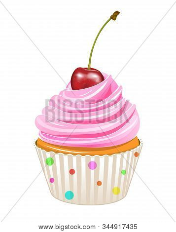 Cupcake Decorated With Cherries. Cupcake Isolated On A White Background.