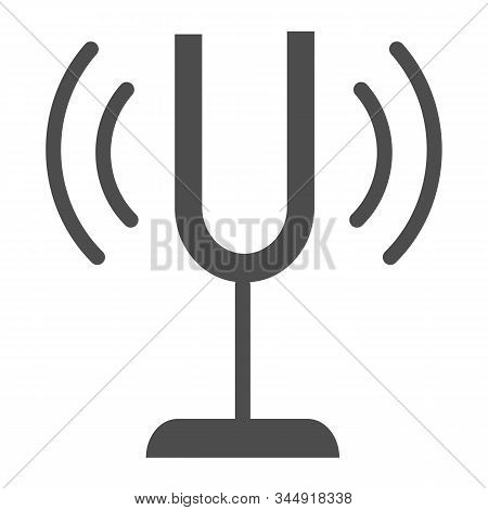Tuning Fork Solid Icon. Sound Tuner Vector Illustration Isolated On White. Musical Equipment Glyph S