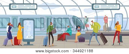 Passengers People Cartoon Illustration. People On The Express Train Platform With Luggage, Bags, Sui