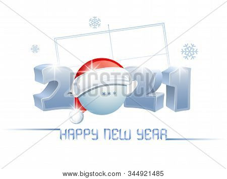 2021. Happy New Year. Sports Greeting Card With A Ping Pong Ball And Santa Claus Hat On The Backgrou