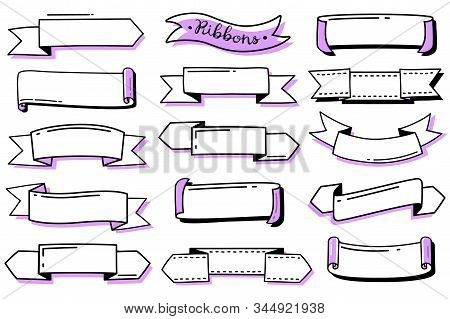 Bullet Journal Doodle Ribbons Set. Collection Of Hand Drawn Contour Ribbons. Empty Templates For Lab