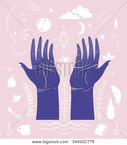 Hand Drawn Inky Hands Raised For Peace And Meditation With Many Esoteric Doodle Symbols.
