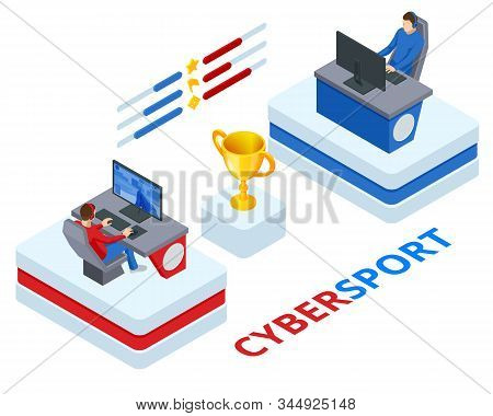Isometric Cybersport Or Electronic Sports, E-sports, Or Esports, Sports Competition Using Video Game