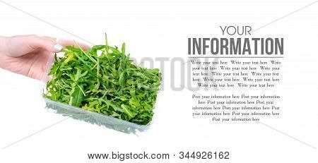 Arugula In Plastic Container In Hand On White Background Isolation, Space For Text