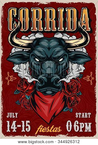 Corrida Vintage Colorful Poster With Roses And Ferocious Red Bull Head In Scarf Vector Illustration