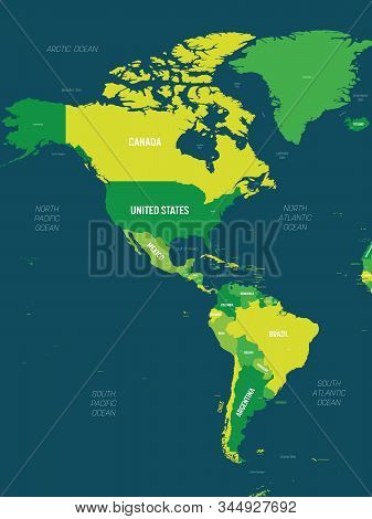 Americas Map - Green Hue Colored On Dark Background. High Detailed Political Map Of North And South